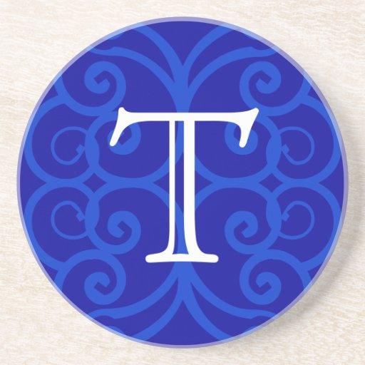 Your Letter. Custom Blue Swirl Monogram. Drink Coaster