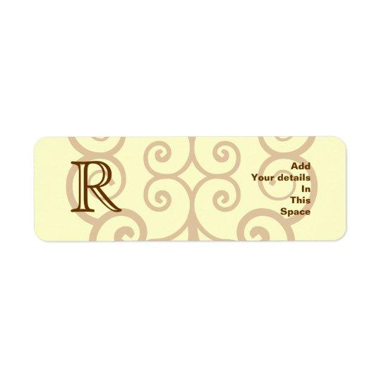 Your Letter. Custom Brown Monogram. Old Fashioned. Return Address Label