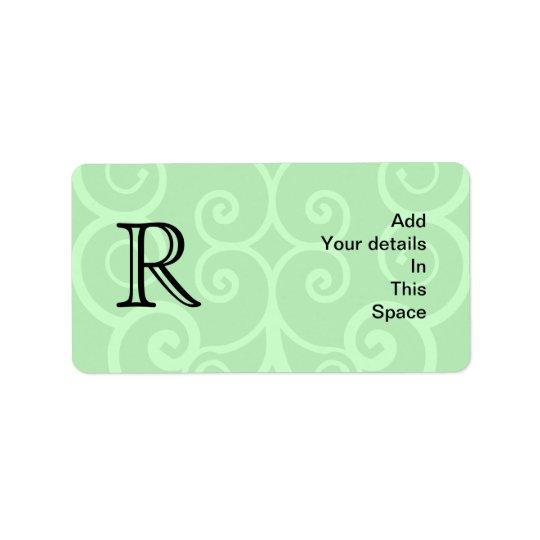 Your Letter. Custom Green Swirl Monogram. Address Label