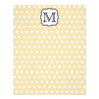 Your Letter. Custom Monogram. Beige Polka Dot. 11.5 Cm X 14 Cm Flyer