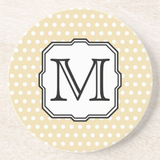 Your Letter. Custom Monogram. Beige Polka Dot. Beverage Coasters