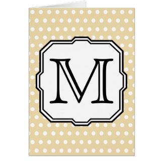 Your Letter. Custom Monogram. Beige Polka Dot. Card