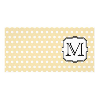 Your Letter. Custom Monogram. Beige Polka Dot. Card