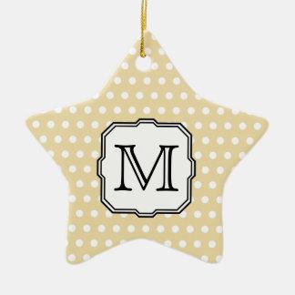 Your Letter. Custom Monogram. Beige Polka Dot. Christmas Ornament
