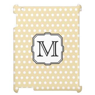 Your Letter. Custom Monogram. Beige Polka Dot. Cover For The iPad 2 3 4