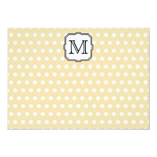 Your Letter. Custom Monogram. Beige Polka Dot. Invitation