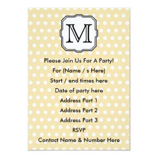 """Your Letter. Custom Monogram. Beige Polka Dot. 5"""" X 7"""" Invitation Card"""