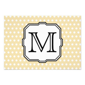 Your Letter Custom Monogram Beige Polka Dot Personalized Announcements