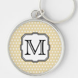 Your Letter. Custom Monogram. Beige Polka Dot. Silver-Colored Round Key Ring
