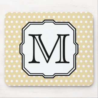 Your Letter. Custom Monogram. Beige Polka Dot. Mouse Mat