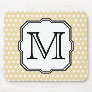 Your Letter. Custom Monogram. Beige Polka Dot. Mouse Pad