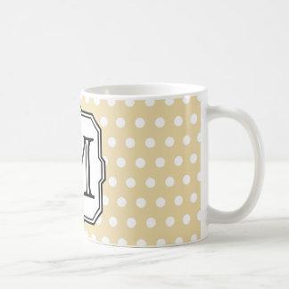 Your Letter Custom Monogram Beige Polka Dot Coffee Mug