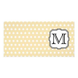 Your Letter. Custom Monogram. Beige Polka Dot. Photo Greeting Card