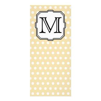 Your Letter. Custom Monogram. Beige Polka Dot. Rack Card Template