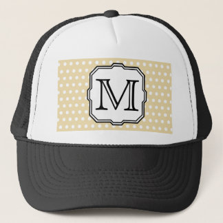 Your Letter. Custom Monogram. Beige Polka Dot. Trucker Hat