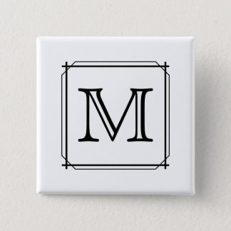 Your Letter. Custom Monogram. Black and White 15 Cm Square Badge
