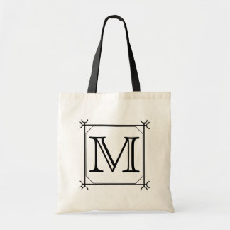 Your Letter Custom Monogram Black and White Tote Bags