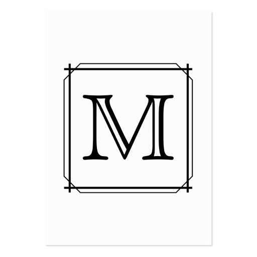 Your Letter. Custom Monogram. Black and White Business Card Template
