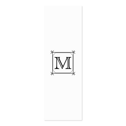 Your Letter. Custom Monogram. Black and White Business Card