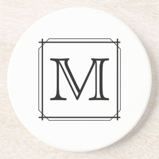 Your Letter. Custom Monogram. Black and White Drink Coasters