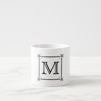 Your Letter. Custom Monogram. Black and White Espresso Mug
