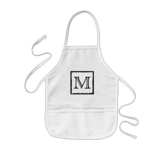 Your Letter. Custom Monogram. Black and White Kids Apron