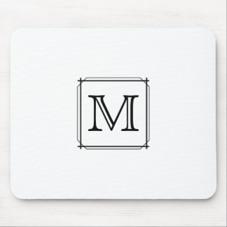 Your Letter. Custom Monogram. Black and White Mouse Mat