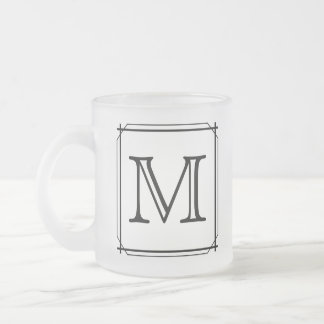 Your Letter. Custom Monogram. Black and White 10 Oz Frosted Glass Coffee Mug