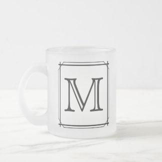 Your Letter. Custom Monogram. Black and White Frosted Glass Mug