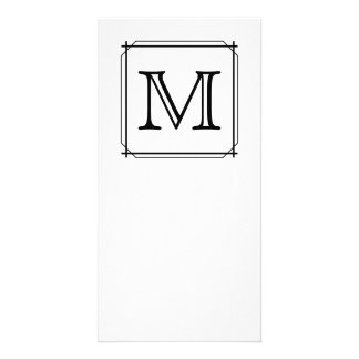 Your Letter Custom Monogram Black and White Photo Cards