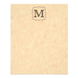 Your Letter. Custom Monogram. Black & Parchment 11.5 Cm X 14 Cm Flyer
