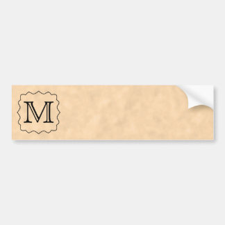 Your Letter. Custom Monogram. Black & Parchment Bumper Sticker