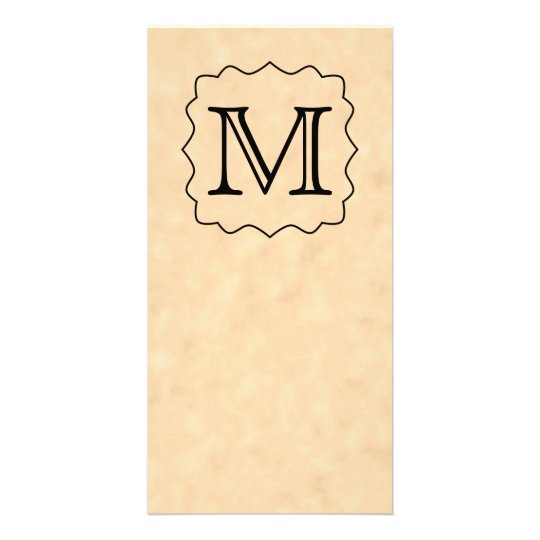 Your Letter. Custom Monogram. Black & Parchment Card