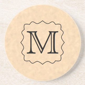 Your Letter. Custom Monogram. Black & Parchment Coaster