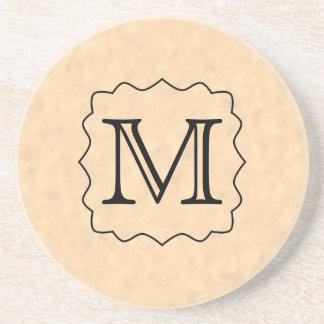 Your Letter. Custom Monogram. Black & Parchment Drink Coasters