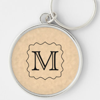 Your Letter. Custom Monogram. Black & Parchment Key Ring