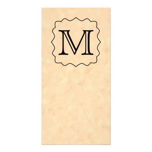 Your Letter. Custom Monogram. Black & Parchment Photo Greeting Card