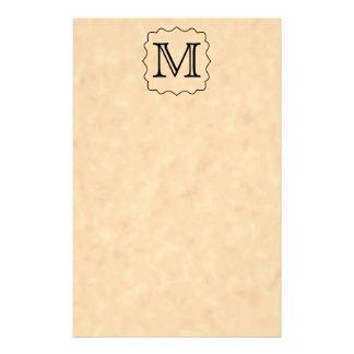 Your Letter. Custom Monogram. Black & Parchment Stationery