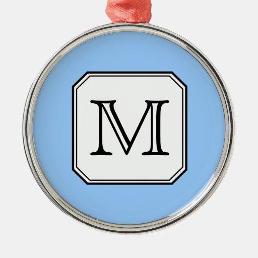 Your Letter. Custom Monogram. Blue Black White. Christmas Ornament