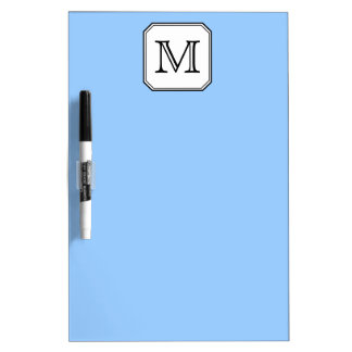 Your Letter. Custom Monogram. Blue Black White. Dry Erase Board