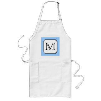 Your Letter. Custom Monogram. Blue Black White. Long Apron