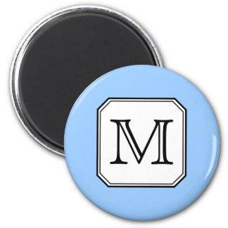 Your Letter. Custom Monogram. Blue Black White. Magnet