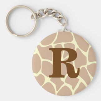 Your Letter. Custom Monogram Giraffe Print Design Basic Round Button Key Ring