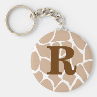 Your Letter. Custom Monogram Giraffe Print Design Key Ring