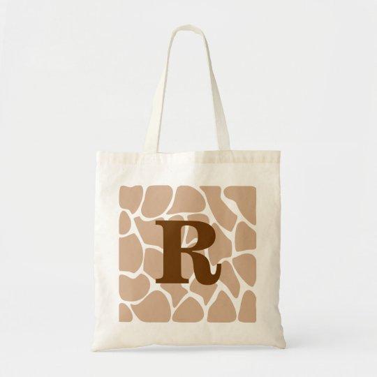 Your Letter. Custom Monogram Giraffe Print Design Tote Bag