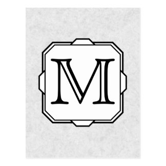 Your Letter. Custom Monogram. Gray, Black & White Postcard