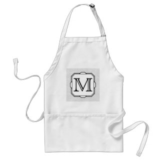 Your Letter. Custom Monogram. Gray, Black & White Standard Apron