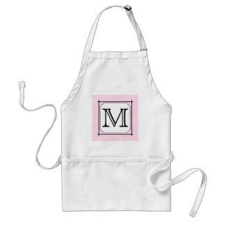 Your Letter. Custom Monogram. Pink Black White Adult Apron