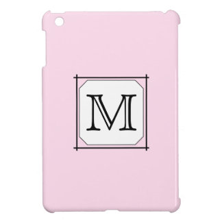 Your Letter. Custom Monogram. Pink Black White. iPad Mini Covers