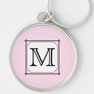 Your Letter. Custom Monogram. Pink Black White Key Ring